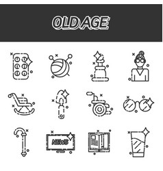 old age flat concept icons vector image vector image