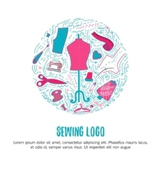 Sewing logo for hand made products for sewing vector image vector image