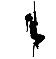 silhouette girl climbs up the rope vector image vector image