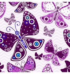 Seamless vivid pattern with violet butterflies vector image vector image
