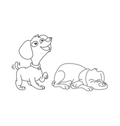 two dogs smiling and sleeping vector image