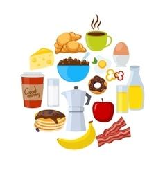 Breakfast Icons Flat Set vector image vector image