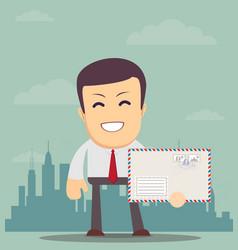 business man holding envelope vector image vector image