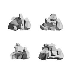 cartoon rocks and stones set vector image vector image