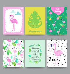 childish tropical summer design cute flamingos vector image vector image