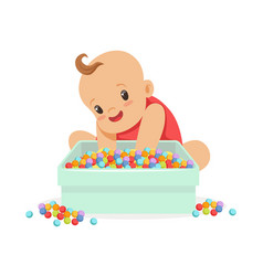 Cute happy baby sitting and playing with box full vector