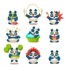 Cute Panda Emotions And Activities Collection With vector image vector image
