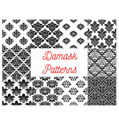 damask floral ornate patterns set vector image