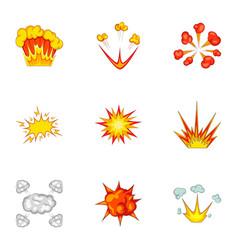 explode animation effect icons set cartoon style vector image