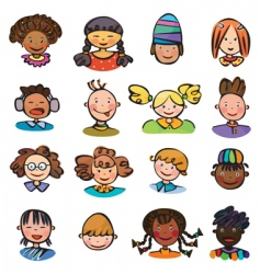 kids faces vector image vector image