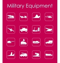 Set of military equipment simple icons vector image vector image