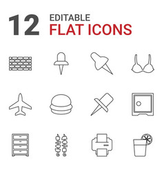 12 solid icons vector image