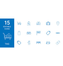 15 tag icons vector