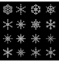 16 types of white snowflakes eps10 vector