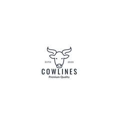 Animal cow head face line art outline skull logo vector