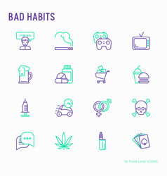 bad habits thin line icons set vector image