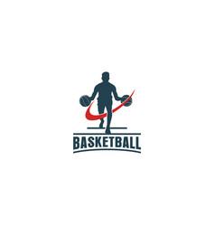 Basketball vintage logo design sport label emblem vector