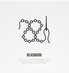 beadwork workshop flat line icon beads with vector image