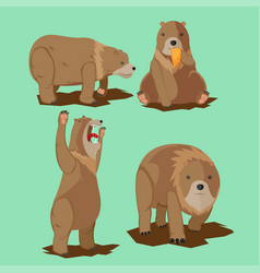 Bear wild character cartoon set vector