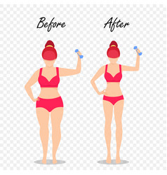 Before after fit girl with dumbbell body fat slim vector