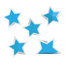Blue star paper stickers with shadows vector
