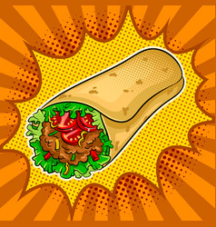 Burrito pop art vector