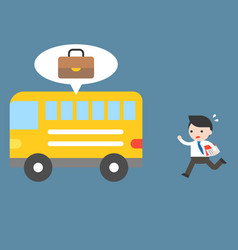 Businessman forget a bag in bus flat vector
