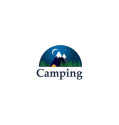 camping logo with snow mountain vector image