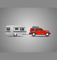 Car with trailer isolated on transparent vector