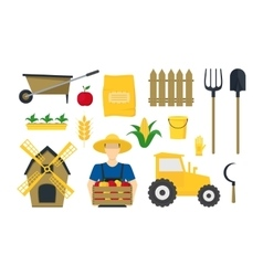 Cartoon Farming Elements and Equipment Set vector