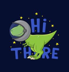 Cartoon tyrannosaurus rex in spacesuit vector