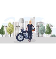 Character biker with helmet motorcycle stay on vector