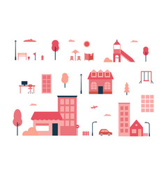 City elements - flat design style set of isolated vector
