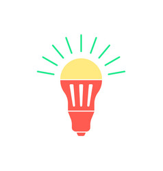 Colored led bulb with green light flash vector