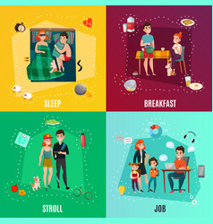 Couple in daily routine concept vector