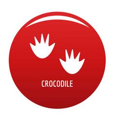 Crocodile step icon red vector