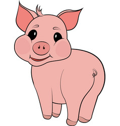 cute pig cartoon isolated on white background vector image