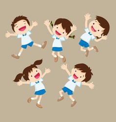 Cute student boy and girl jumping be happy vector