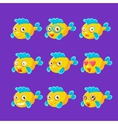 Cute Yellow Aquarium Fish Cartoon Character Set Of vector image