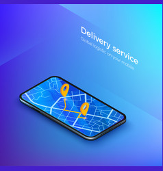 delivery or taxi service isometric banner vector image