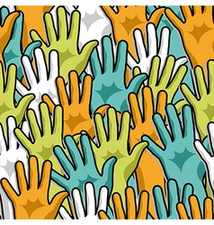 Democracy hands up pattern vector image