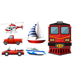 different kinds of transportations vector image