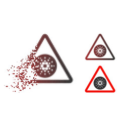 Disappearing dotted halftone cardano danger icon vector