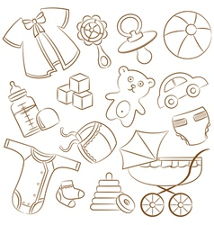 doodle baby icon set vector image
