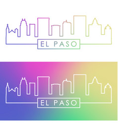 el paso skyline colorful linear style editable vector image