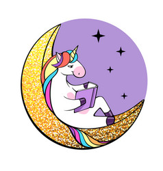 Fantasy unicorn reading book on the moon vector