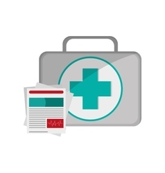 First aid kit and medical history icon vector