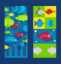 fish icons and stickers on vertical banner flat vector image