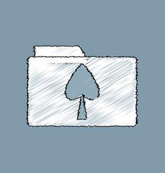 flat shading style icon spade symbol on folder vector image