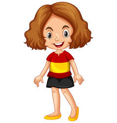 Girl wearing shirt with spain flag vector